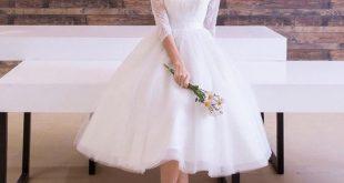 صور فساتين زفاف قصيرة , موضات قديمه عادت للاضواء