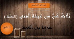 صورة شرح نص ثلاث هن من عيشة الفتى , معلقه طرفه بن العبد