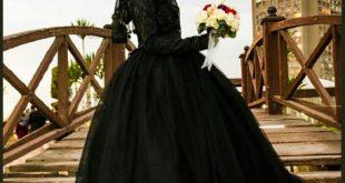 صورة فستان اسود للمحجبات , الاسود عشق واناقه المنتقبات